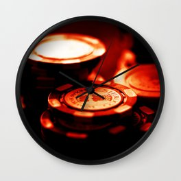 Casino Chips Stacks-Red Wall Clock