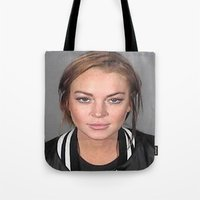 lindsay lohan Tote Bags featuring Lindsay Lohan by Neon Monsters