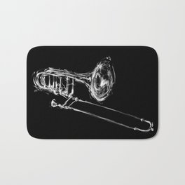 Black Trombone Bath Mat