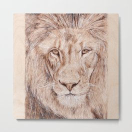 Lion Portrait - Drawing by Burning on Wood - Pyrography Art Metal Print