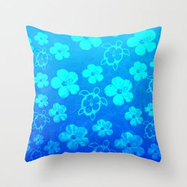 Blue Hawaiian Honu And Tropical Flowers Throw Pillow