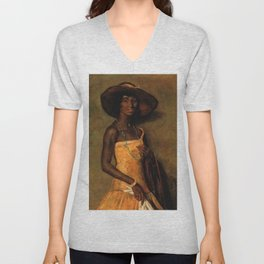 African American Portrait 'Woman in a yellow dress' by Simon Maris Unisex V-Neck