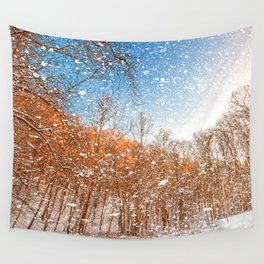 Snow Spattered Winter Forest Wall Tapestry