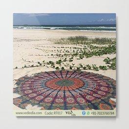 Indian Mandala Round Tapestry Hippy Boho Beach Towel Metal Print