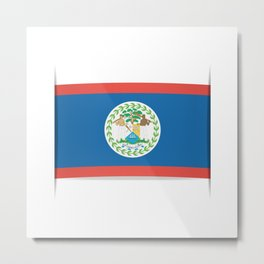 Flag of Belize. The slit in the paper with shadows. Metal Print