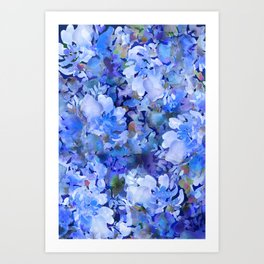 Wild Blue Rose Garden Art Print