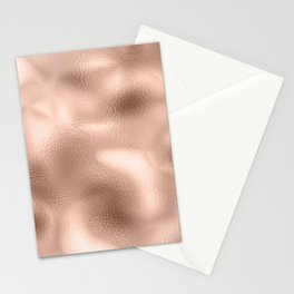 Rose Gold Metallic Texture Stationery Cards