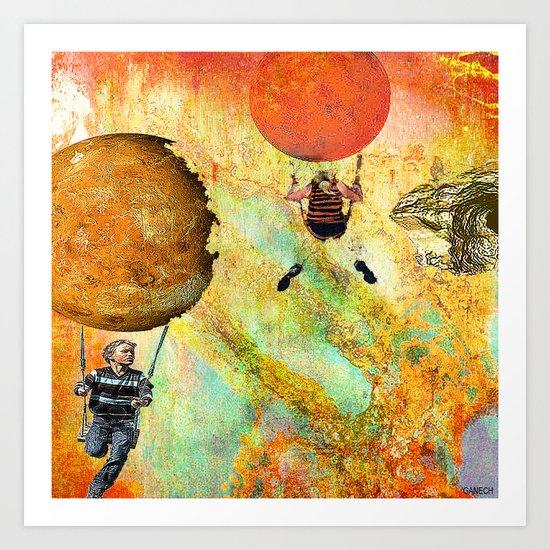 Balançoire dans l'espace Art Print