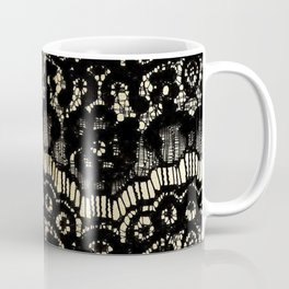 Luxury chic faux gold black floral french lace  Coffee Mug