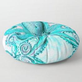 Octopus in Turquoise Floor Pillow