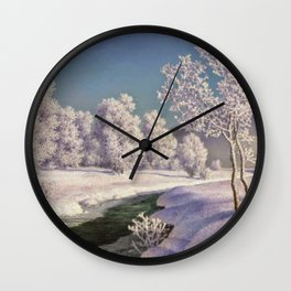 Winter Morning, After New Snow, Along the Emerald Stream by Ivan Fedorovich Choultsé Wall Clock