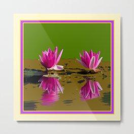 Fuchsia Water Lilies Green Art Metal Print