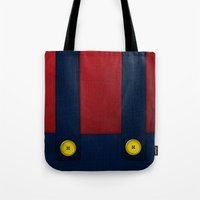 video game Tote Bags featuring Video Game Poster: Plumber by Justin D. Russo