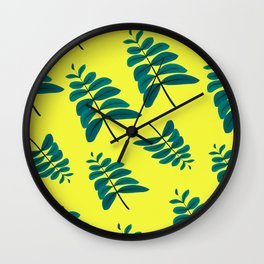 Leaves in Yellow Wall Clock