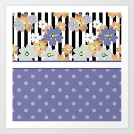 Floral pattern With textured polka dots. Art Print