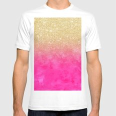 Modern girly gold glitter ombre fade neon pink watercolor White Mens Fitted Tee MEDIUM