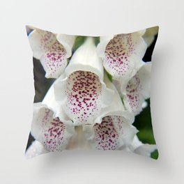 White Foxgloves - Garden Photography Throw Pillow