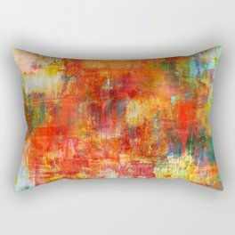 AUTUMN HARVEST - Fall Colorful Abstract Textural Painting Warm Red Orange Yellow Green Thanksgiving Rectangular Pillow