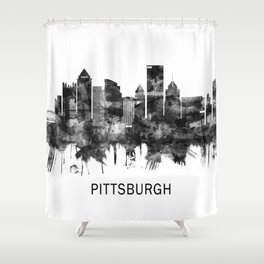 Pittsburgh Pennsylvania Skyline BW Shower Curtain