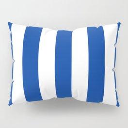 Dark powder blue - solid color - white vertical lines pattern Pillow Sham