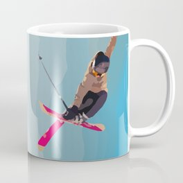 Man jumps with skies on piste with mountains and sky background Coffee Mug