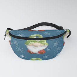 Blue Winter Gnome Pattern Fanny Pack