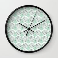 green pattern Wall Clocks featuring Pattern green by De Assuncao création