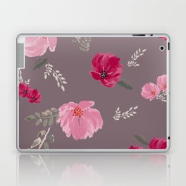 Watercolor pink & red peonies on dusty pink background Laptop & iPad Skin