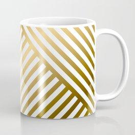 Art Deco Gold and Eggshell White Geometric Pattern Coffee Mug