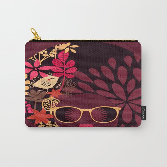Afro Diva : Sophisticated Lady Deep Pink & Burgundy Carry-All Pouch