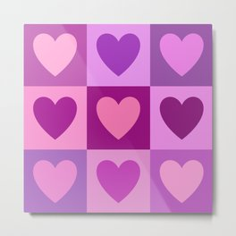 Hearts 3x3 Pinks Purples Mauves Metal Print