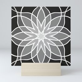 Shades of Grey | Abstract Flowers | Geometric Pattern | Black, Gray and White | Mini Art Print