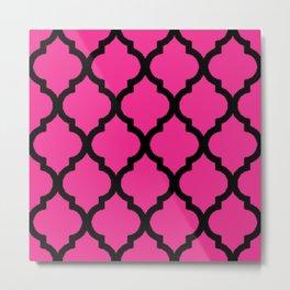 Pink and Black Quatrefoil Metal Print