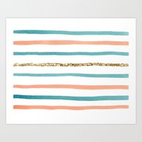 stripe Art Prints featuring Sparkle Stripe by Social Proper