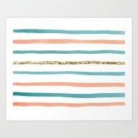 sparkle Art Prints featuring Sparkle Stripe by Social Proper