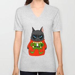 Black Cat in Christmas Sweater  05 Unisex V-Neck