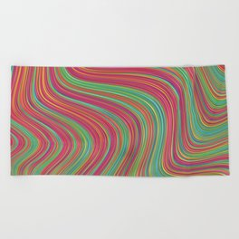OLEANDER trails of fuschia red grass green abstract Beach Towel