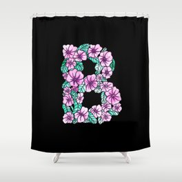 Letter B - Black - Watercolor and Inked Shower Curtain