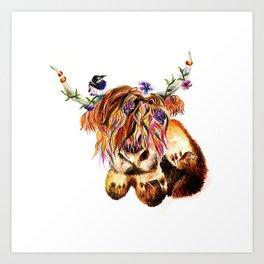 sunset highland cow Art Print