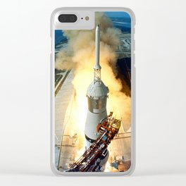 Saturn V Launch of Apollo 11 Moon Mission Clear iPhone Case