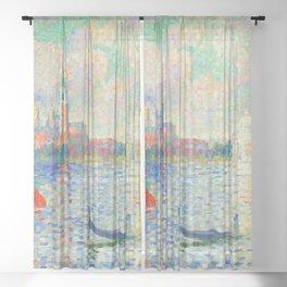 """Henri-Edmond Cross """"Vue du bassin de Saint-Marc"""" Sheer Curtain"""