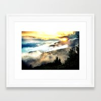mountains Framed Art Prints featuring Sunrise mountains by 2sweet4words Designs