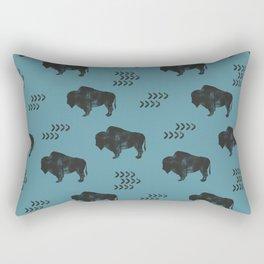 distressed buffalo on slate blue Rectangular Pillow