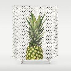 Polka Dot Pineapple Shower Curtain