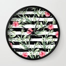 Delicate Hibiscus On Stripes Wall Clock