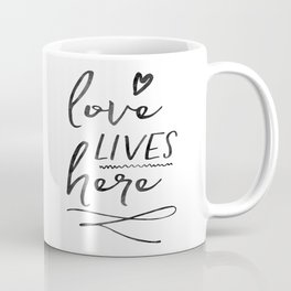Love Lives Here | Framed Wooden Sign | Farmhouse Style | Rustic Decor | Fixer Upper | Welcome Home Coffee Mug