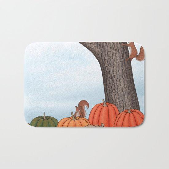 heirloom pumpkins, squirrels, & the oak tree Bath Mat