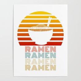 Ramen Life Japanese Noodles Vintage Retro Style Gift Poster