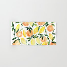 Sicilian orchard: lemons and oranges in watercolor, summer citrus Hand & Bath Towel