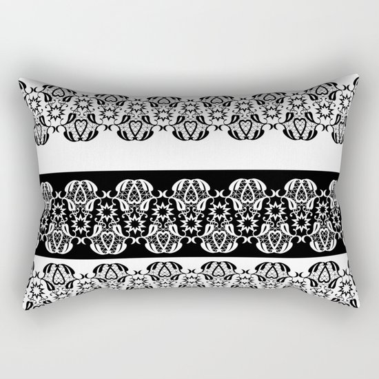 Black and white lace pattern . Rectangular Pillow